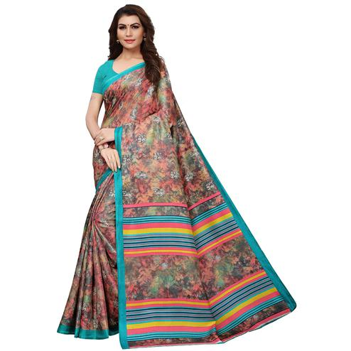 Entrancing Multi-Sky Blue Colored Casual Printed Khadi Silk Saree