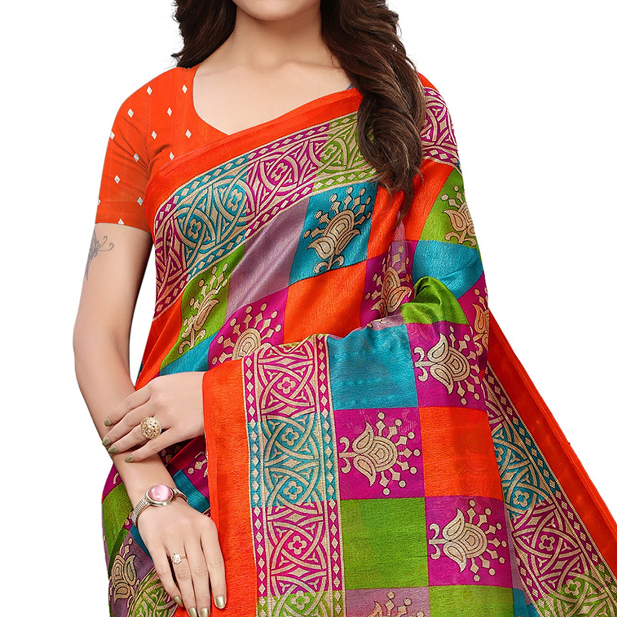 Imposing Multicolored Casual Printed Mysore Silk Saree