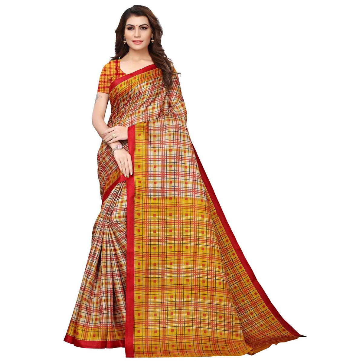 Blissful Beige-Yellow Colored Festive Wear Printed Khadi Silk Saree
