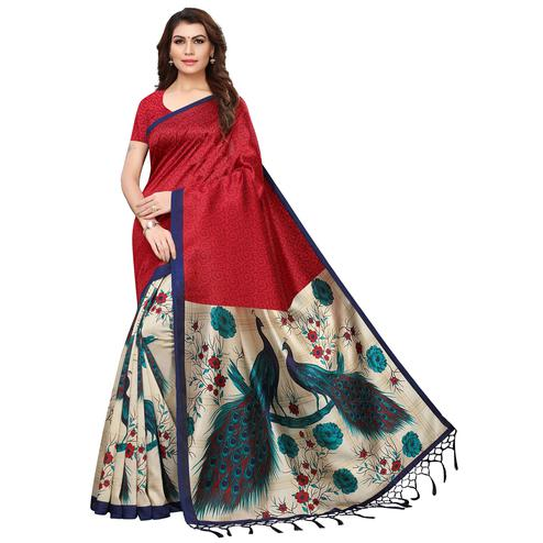 Ideal Maroon-Cream Colored Festive Wear Printed Mysore Silk Saree