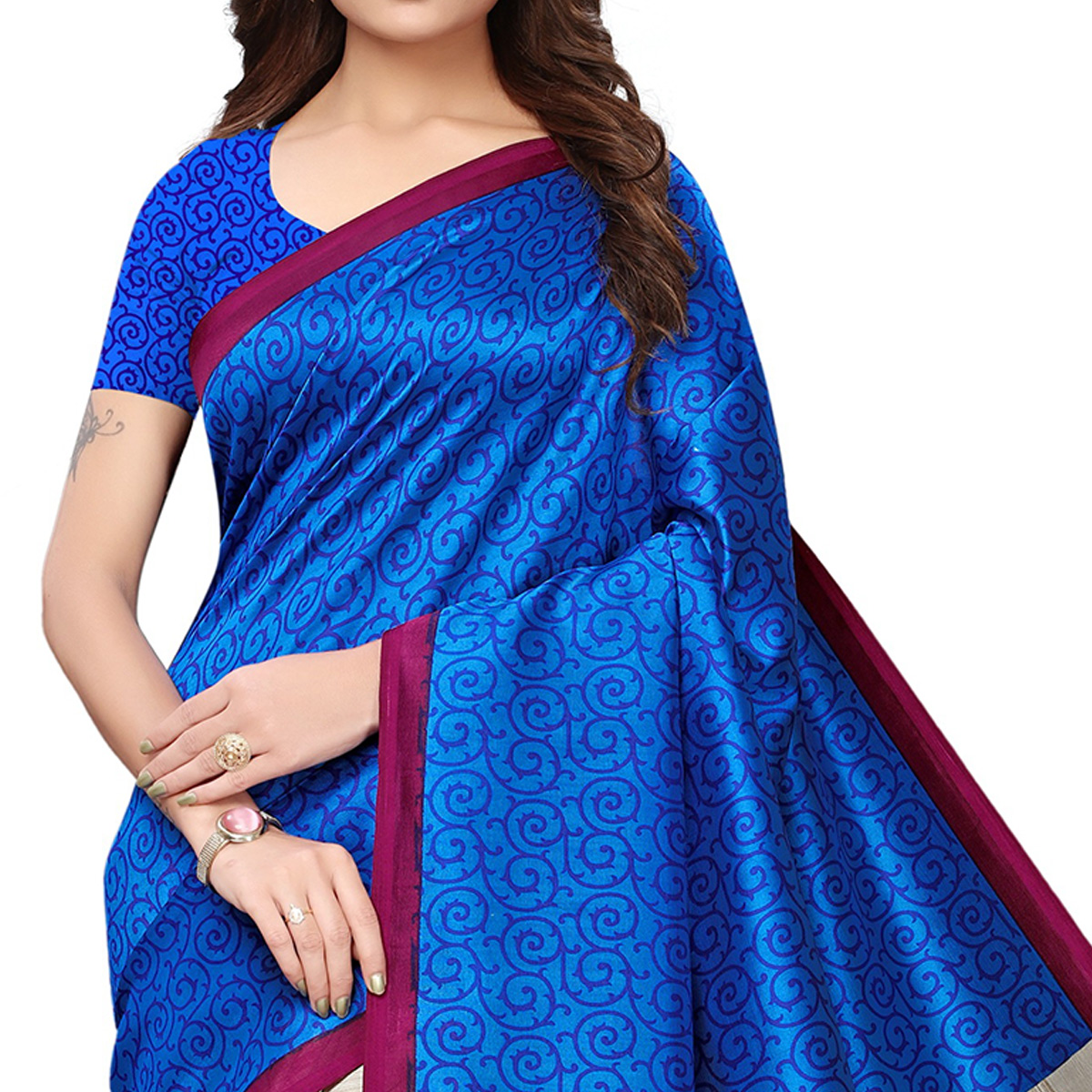 Engrossing Blue-Cream Colored Festive Wear Printed Mysore Silk Saree