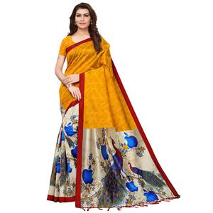 Fantastic Mustard Yellow-Cream Colored Festive Wear Printed Mysore Silk Saree