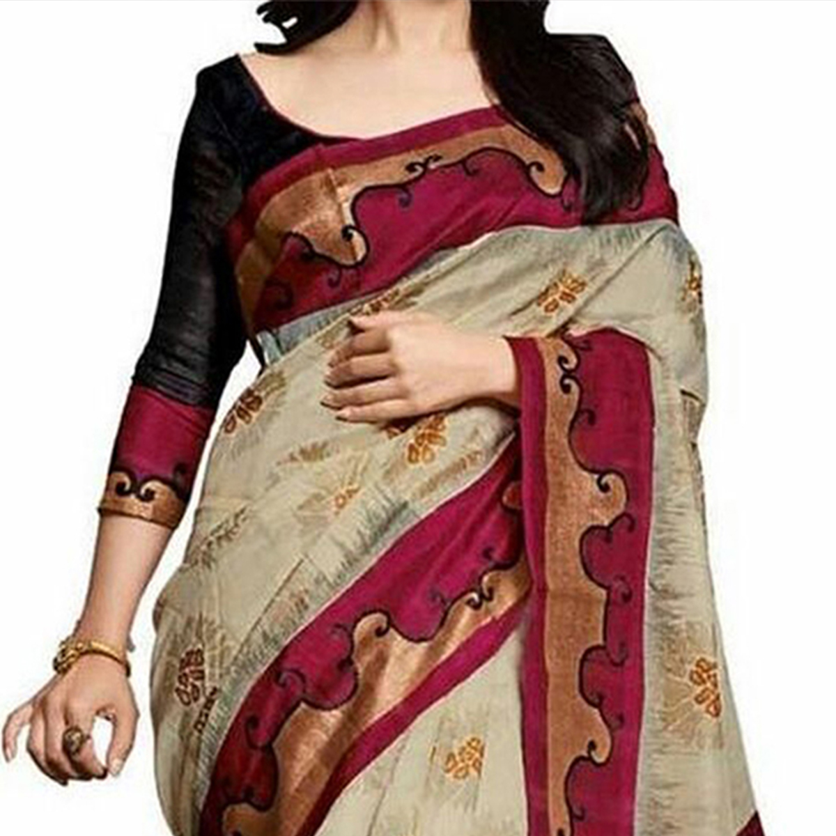 Cream - Magenta Bhagalpuri Saree