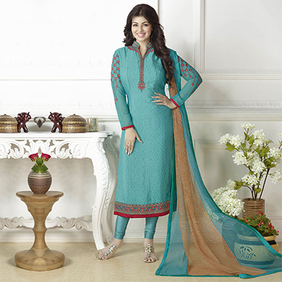 Sizzling Firozi French Crepe Embroidered Suit