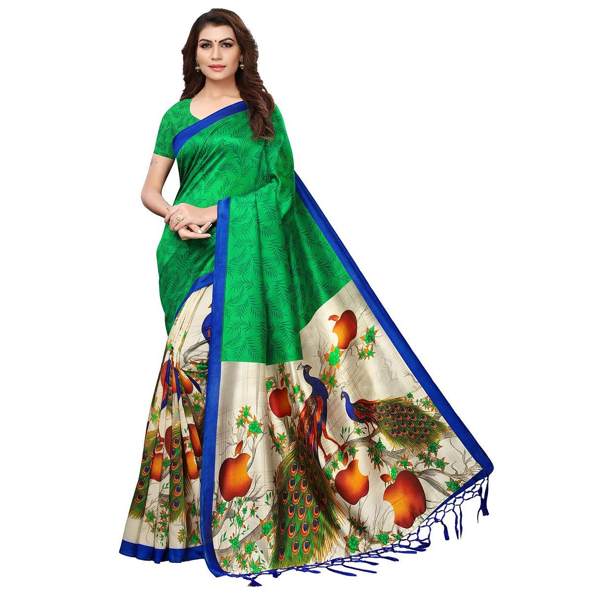 Staring Green-Cream Colored Festive Wear Printed Mysore Silk Saree