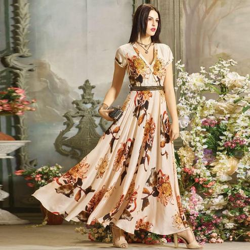 Stylish Cream Colored Partywear Digital Printed Rayon Gown