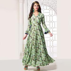 Amazing Green Colored Partywear Digital Printed Rayon Gown