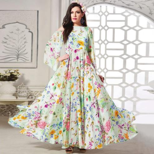 Stunning White Colored Partywear Digital Printed Rayon Gown