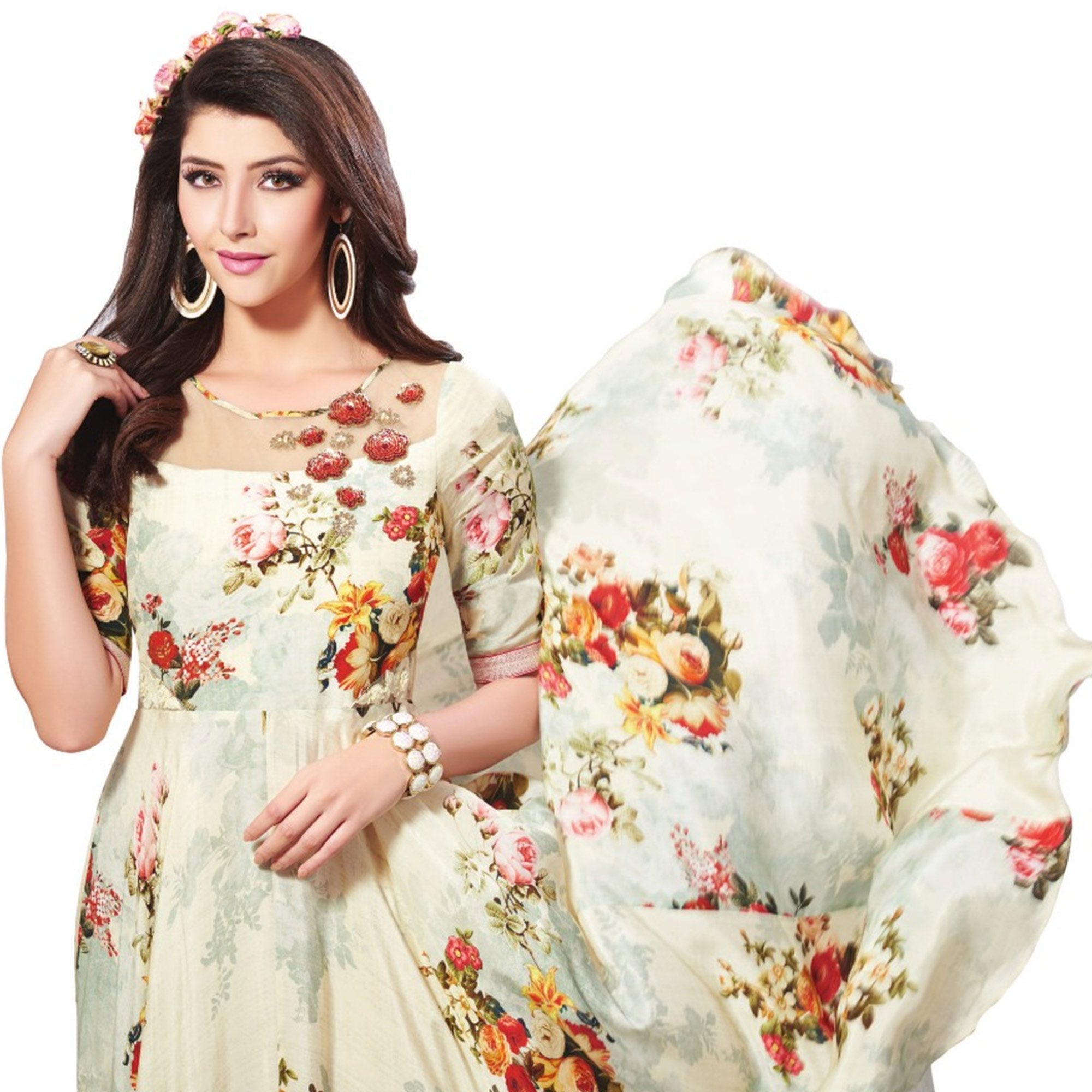 Gleaming Cream Colored Partywear Digital Printed Rayon Gown
