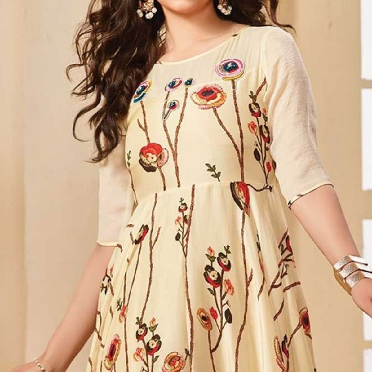 Eye-Catching Cream Colored Partywear Digital Printed Rayon Gown