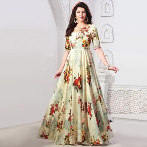 Gorgeous Off-White Colored Partywear Digital Printed Rayon Gown