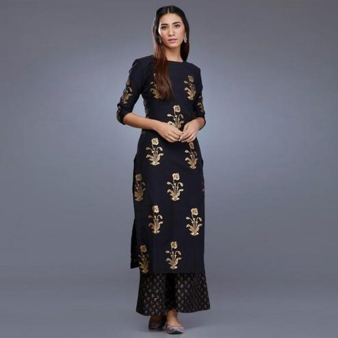 Impressive Navy Blue Colored Partywear Printed Cotton Palazzo Suit
