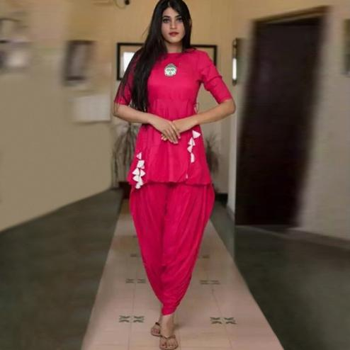 Charming Pink Colored Casual Wear Dhoti Style Suit