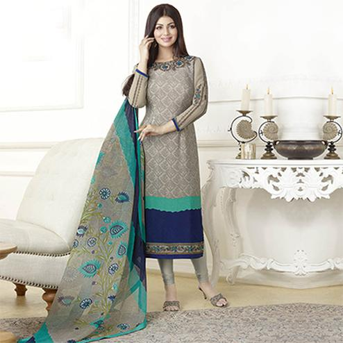 Graceful Grey French Crepe Partywear Suit