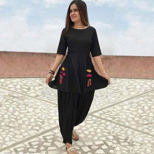 Beautiful Black Colored Casual Wear Dhoti Style Suit