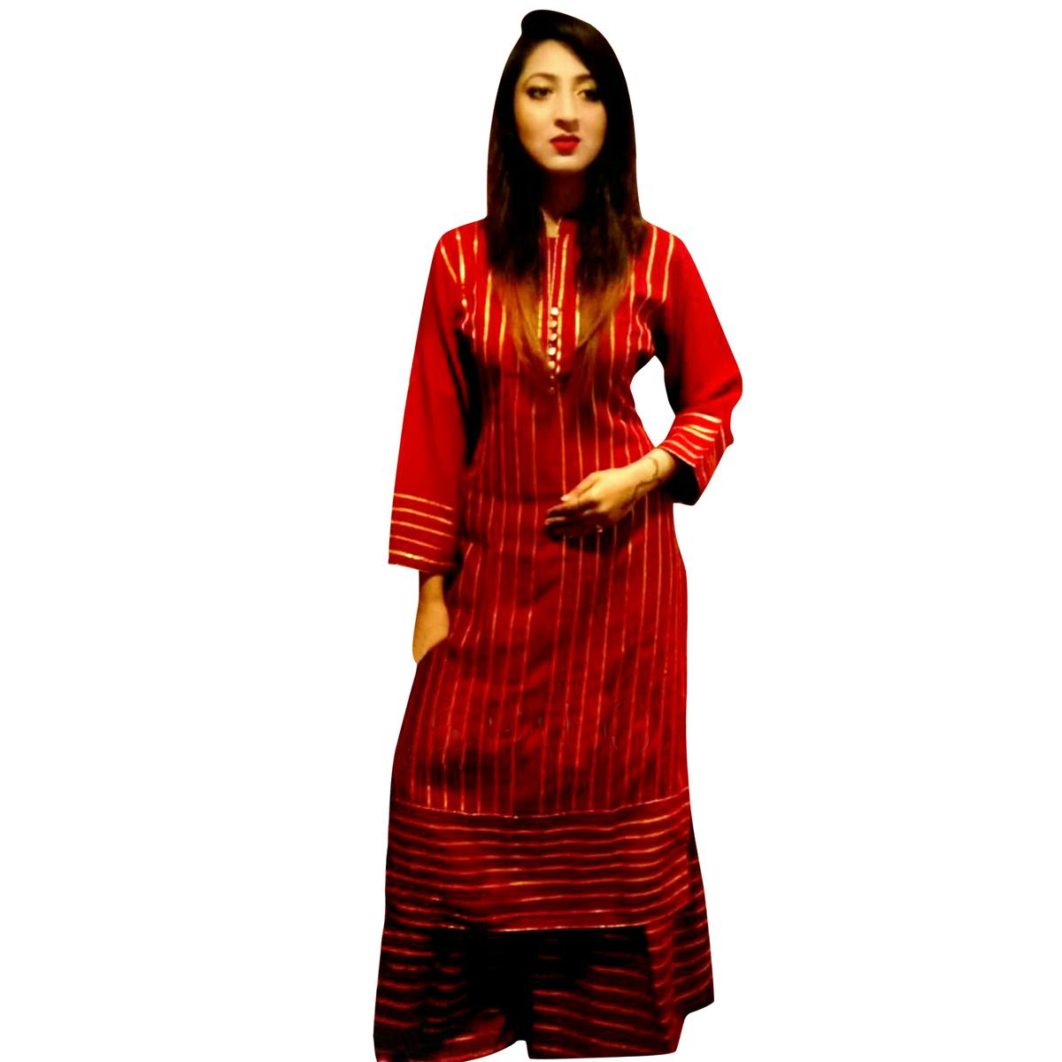 Glowing Red Colored Partywear Rayon Palazzo Suit