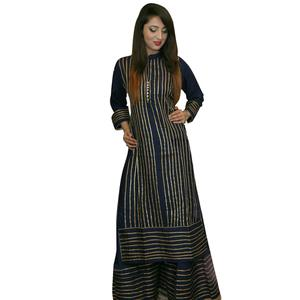 Adorning Navy Blue Colored Partywear Rayon Palazzo Suit