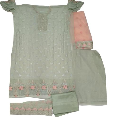 Exceptional Mint Green Colored Partywear Embroidered Georgette Palazzo Suit