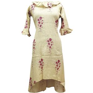 Appealing Beige Colored Casual Printed Cotton Kurti