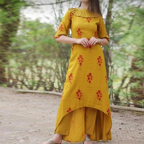 Impressive Yellow Colored Casual Printed Cotton Kurti