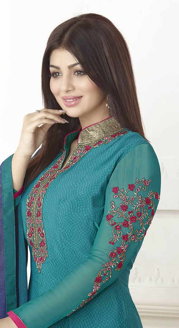 Beautiful Blue Floral Embroidered High Neck Suit