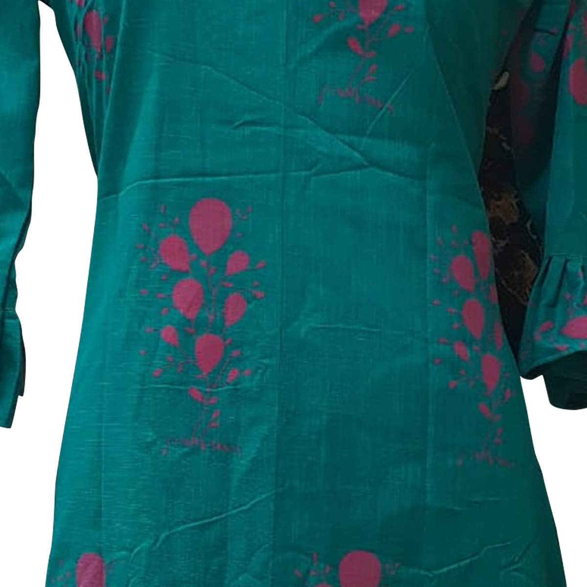 Marvellous Teal Green Colored Casual Printed Cotton Kurti