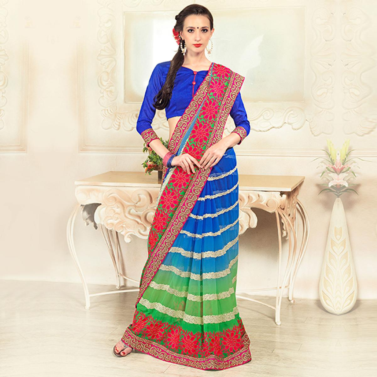 Sensational Blue-Green Colored Party Wear Embroidered Georgette Saree