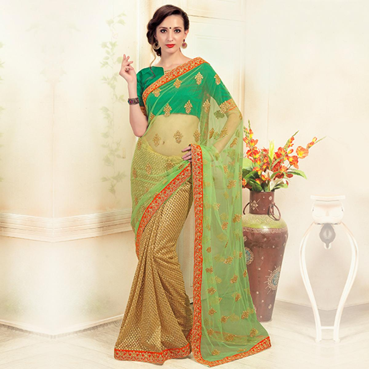 Opulent Golden-Green Colored Party Wear Embroidered Net Saree