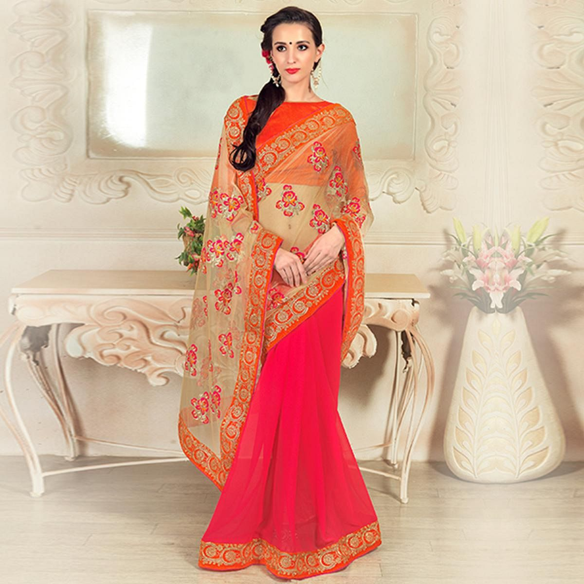 Dazzling Pink-Beige Colored Party Wear Embroidered Net & Georgette Saree