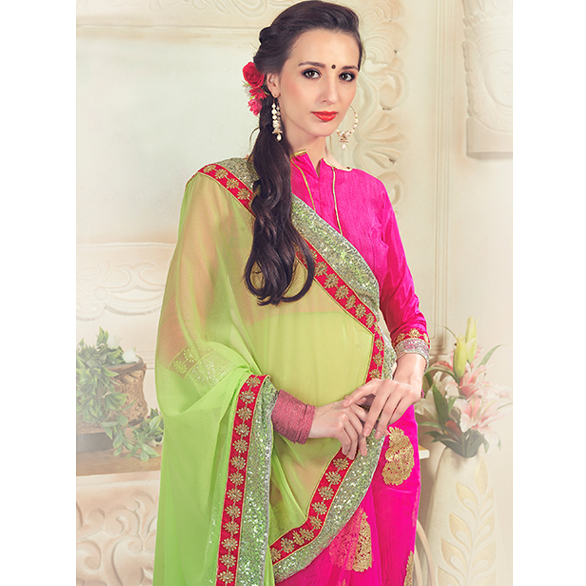 Breathtaking Pink-Green Colored Party Wear Embroidered Net & Georgette Saree