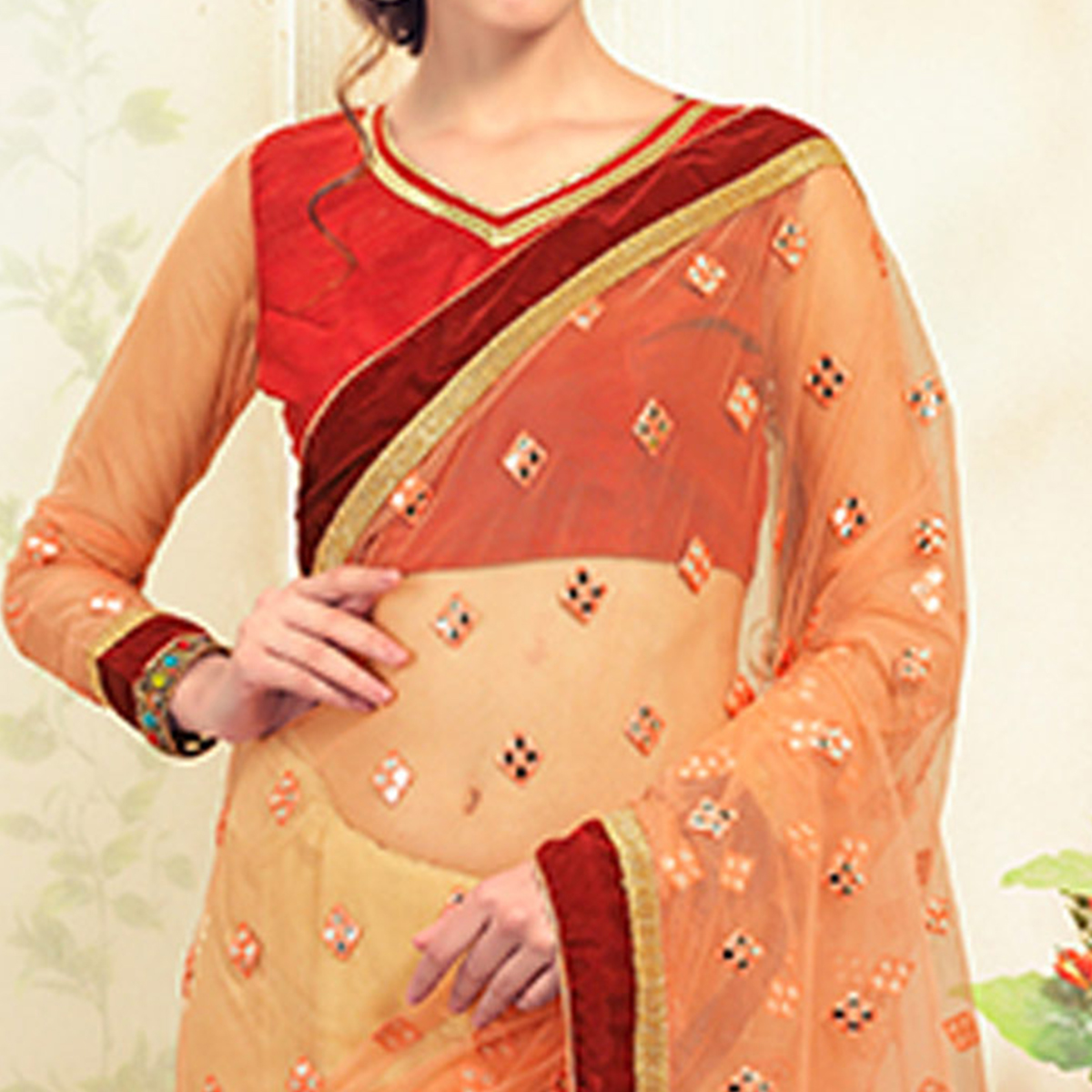 Impressive Beige-Peach Colored Party Wear Embroidered Net Saree
