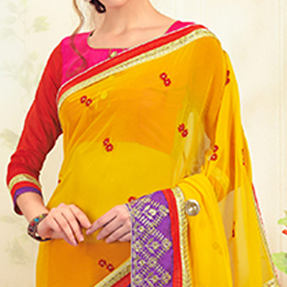 Innovative Yellow-Pink Colored Party Wear Embroidered Chiffon Saree