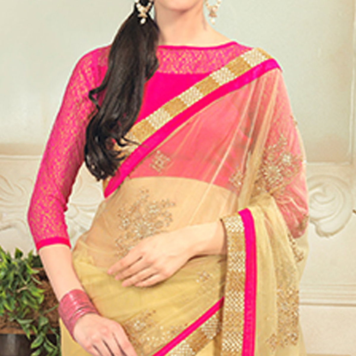 Gleaming Light Yellow Colored Party Wear Embroidered Net Saree