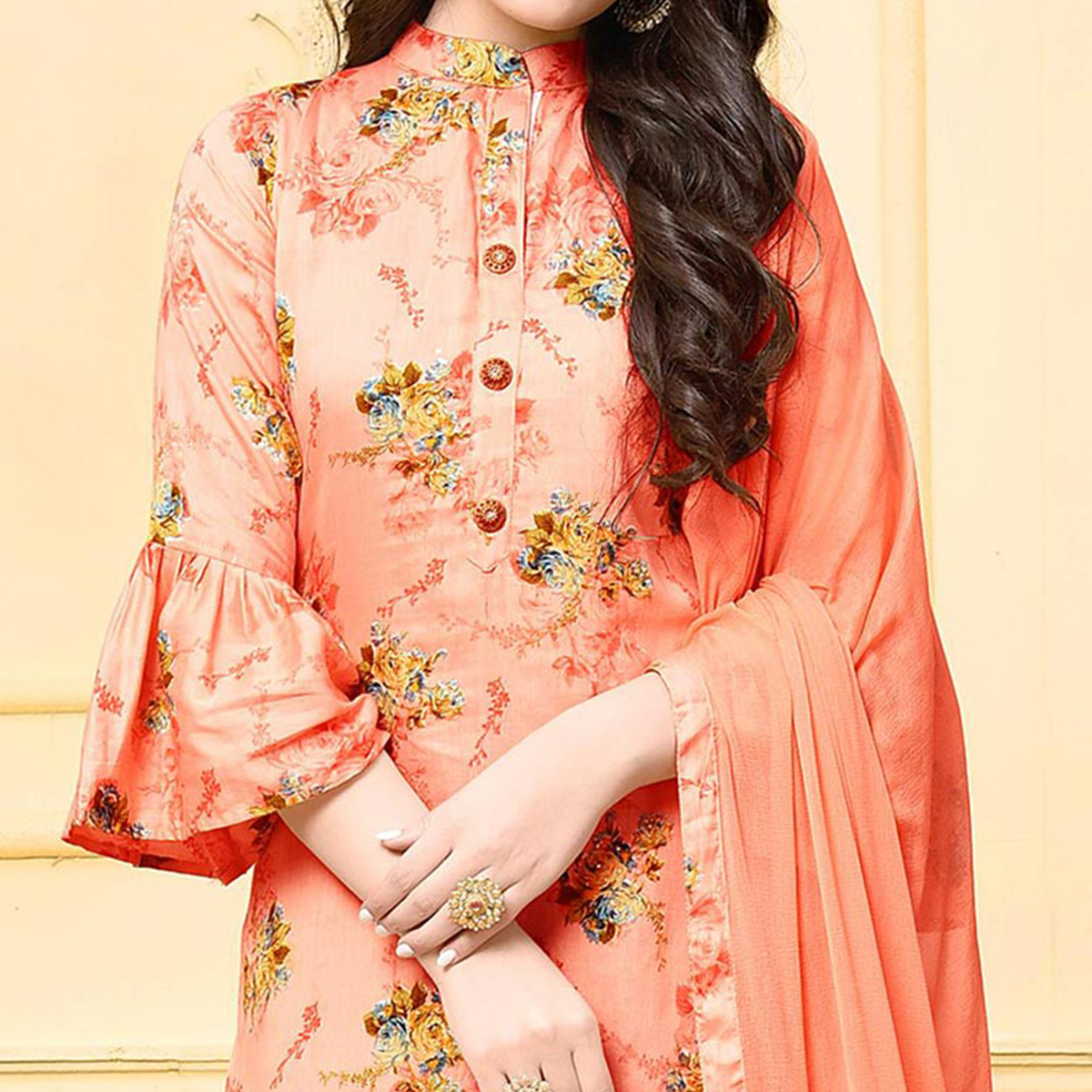 Stylish Peach Colored Partywear Printed Cotton Silk Palazzo Suit