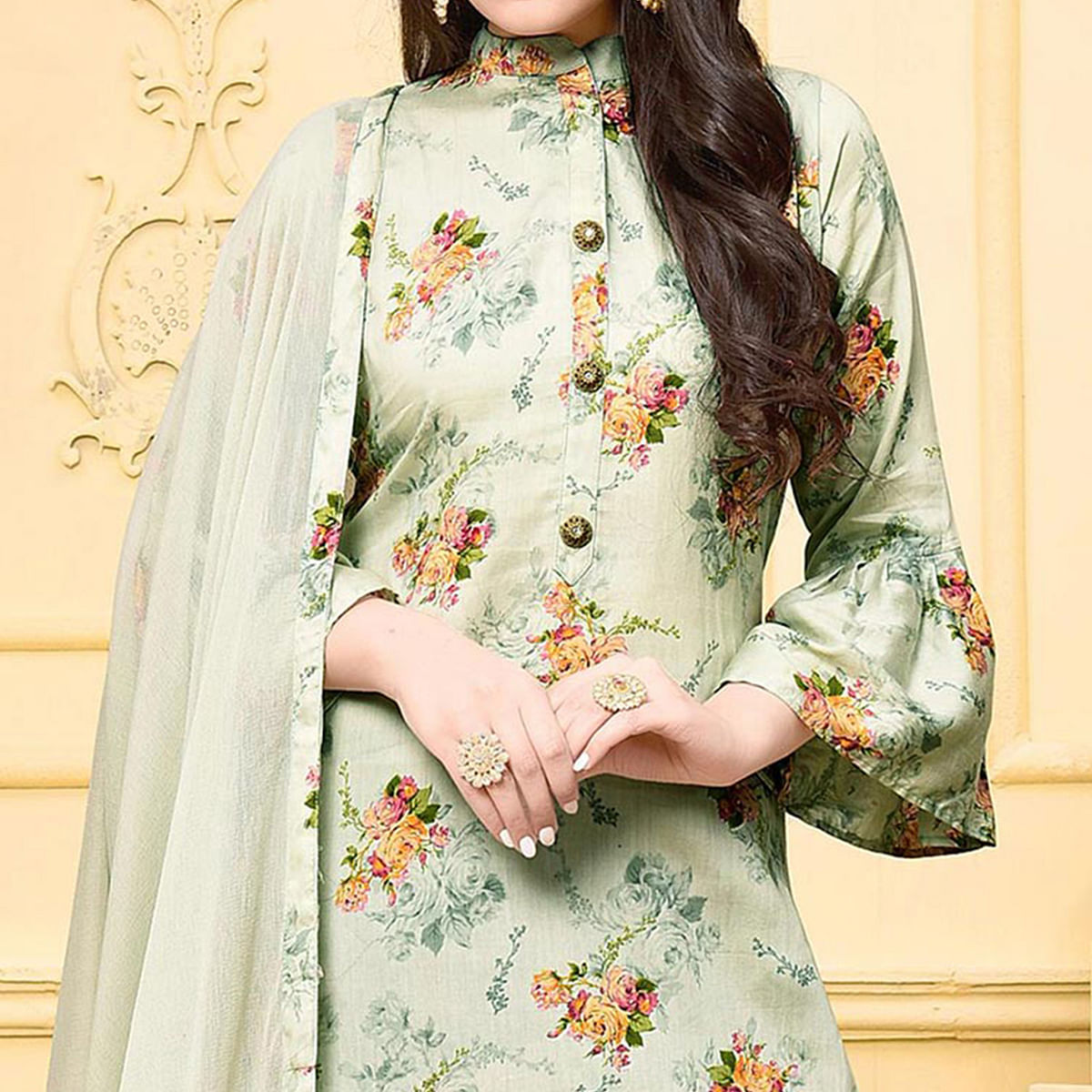 Classy Gray Colored Partywear Printed Cotton Silk Palazzo Suit