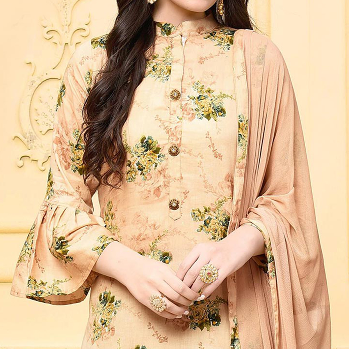 Lovely Beige Colored Partywear Printed Cotton Silk Palazzo Suit