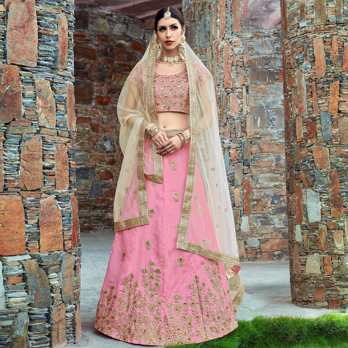 Prominent Baby Pink Colored Wedding Wear Embroidered Art Silk Lehenga Choli