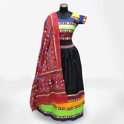 Stylish Multi-Red Colored Partywear Embroidered Pure Cotton Lehenga Choli