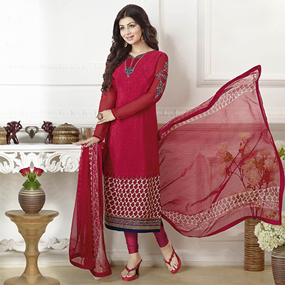 Radiant Red French Crepe Straight Cut Suit