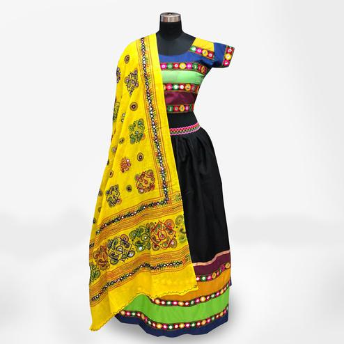 Attractive Multi-Yellow Colored Partywear Embroidered Pure Cotton Lehenga Choli