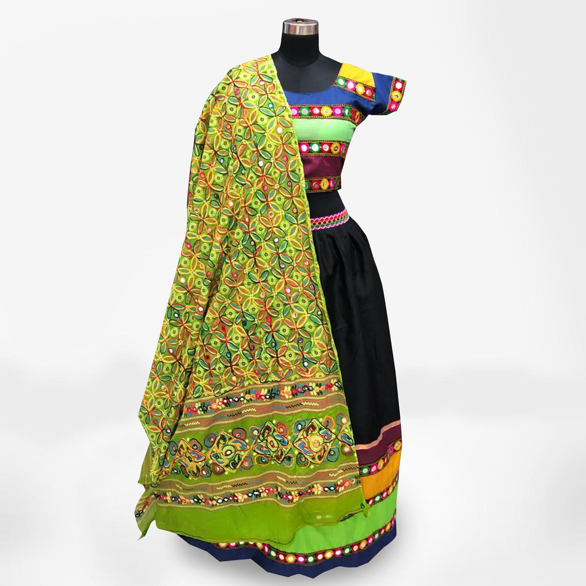 Eye-Catching Multi-Green Colored Partywear Embroidered Pure Cotton Lehenga Choli