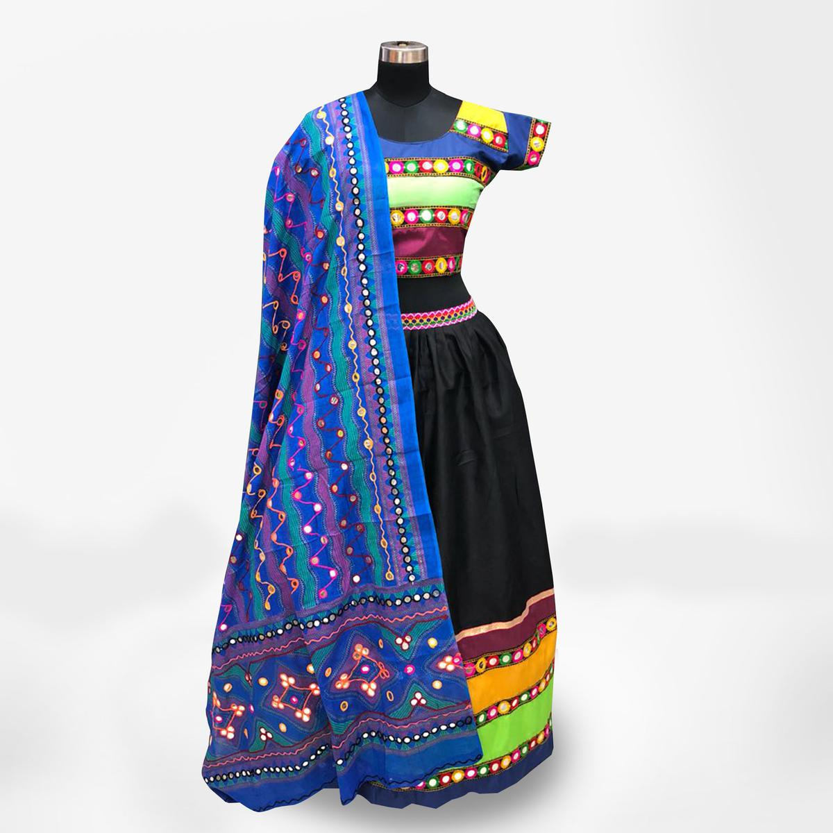 Staring Multi-Blue Colored Partywear Embroidered Pure Cotton Lehenga Choli