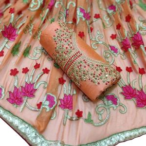 Marvellous Orange Colored Partywear Embroidered Chanderi Silk Dress Material
