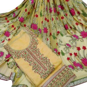Glowing Yellow Colored Partywear Embroidered Chanderi Silk Dress Material