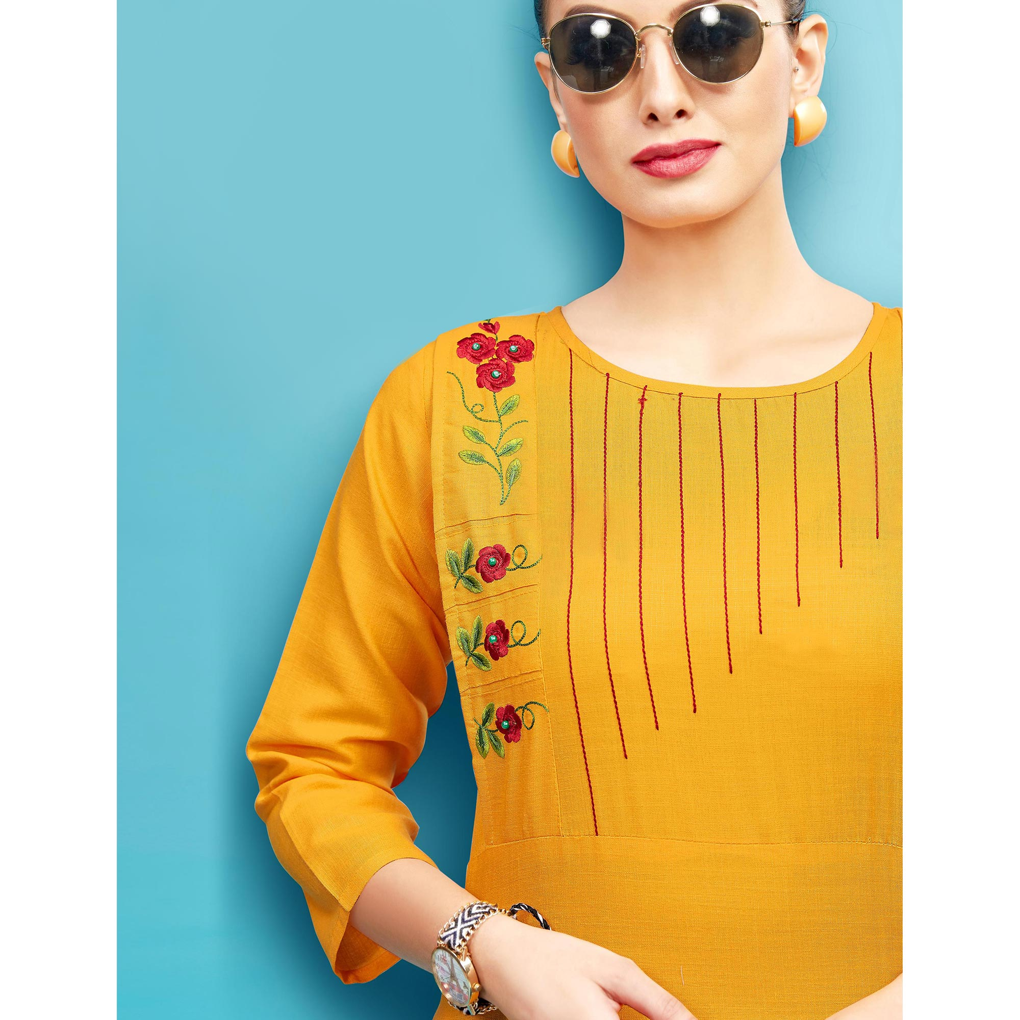 Glowing Yellow Colored Embroidered Partywear Cotton Kurti