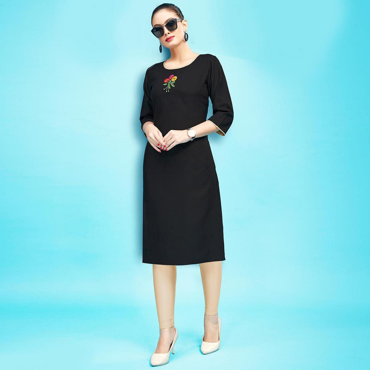 Flaunt Black Colored Embroidered Partywear Cotton Kurti