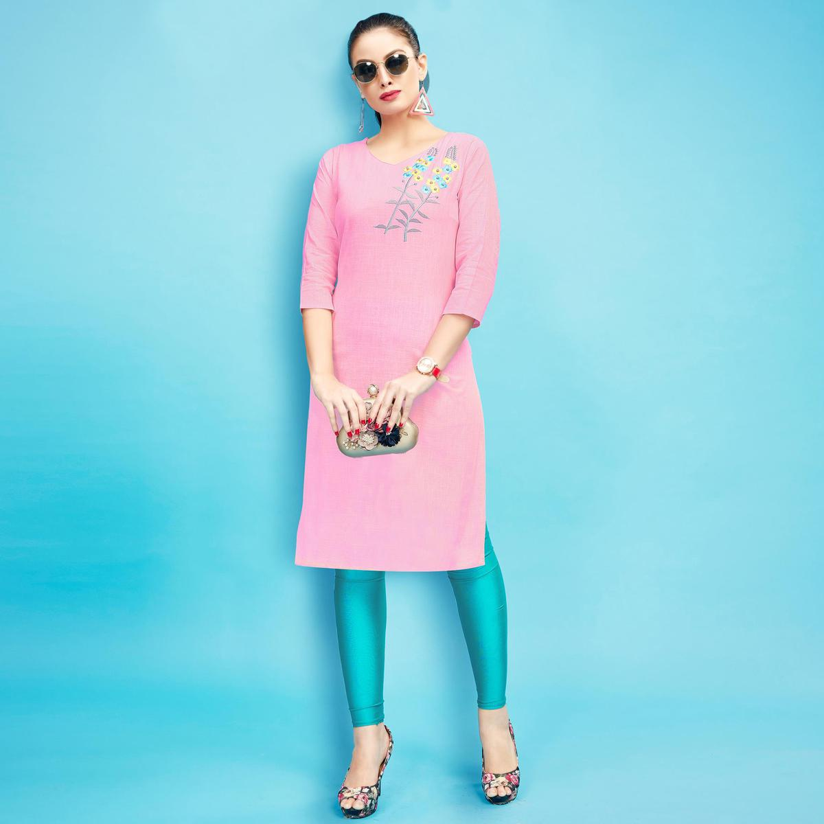Pretty Pink Colored Embroidered Partywear Cotton Kurti