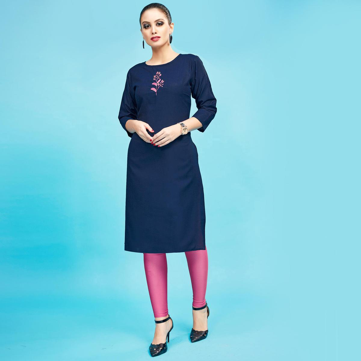 Stylish Navy Blue Colored Embroidered Partywear Cotton Kurti