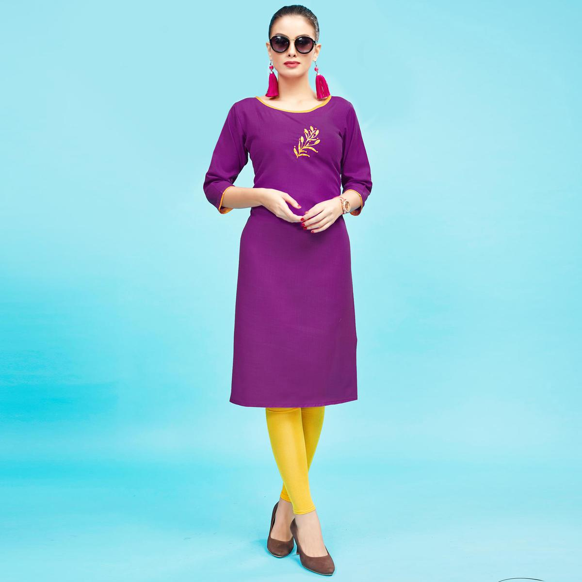 Blooming Violet Colored Embroidered Partywear Cotton Kurti