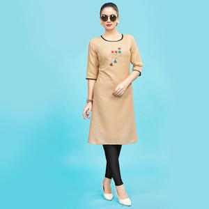Groovy Beige Colored Embroidered Partywear Cotton Kurti